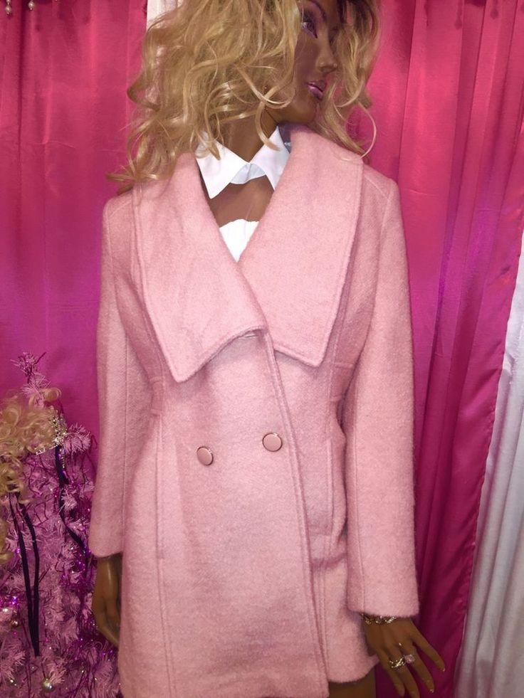 EDINA RONAY Wool Blend Button Down Coat Womens 10 US / 14 UK Pale Pink  $179  #EdinaRonay #BasicCoat