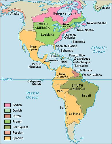 Map of the European colonies in the Americas around 1763.