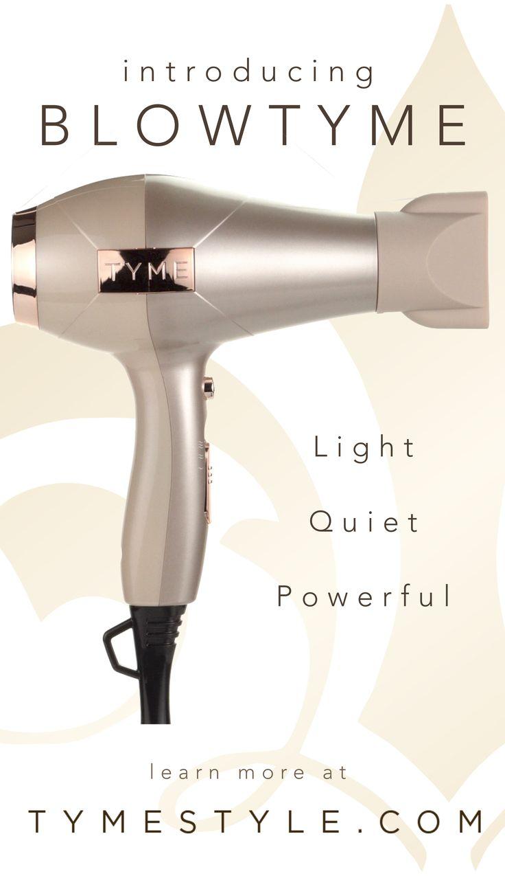 The best technology in hair dryers has arrived! BlowTYME is designed to fix everything that's traditionally wrong with hair dryers (noise, weight, power - we're looking at you!) WWW.TYMESTYLE.COM