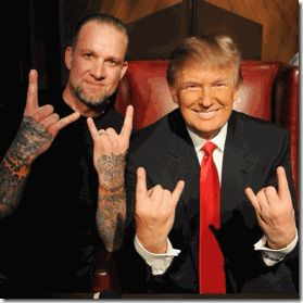This picture is so arrogant and blatantly Satanic that it doesn't really need an explanation and the mouthy Donald Trump doesn't seem to have attempted to create a Smoked Mirror or ILLUSION to explain it away. I accept it for what it is worth- A SATANIC STATEMENT by an elite Diabolical EVIL Cabal. The man pictured with Donald Trump is Jesse James, the husband of popular HollyWeird screen actress Sandra Bullock.http://mindcontrolblackassassins.com/2015/01/07/bill-cosby-part-ii-anna-nichole-