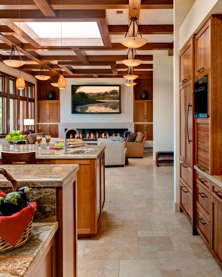 kitchen with custom cut glass backsplash view 4 fireplace tv