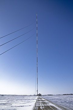 The KVLY-TV mast (formerly the KTHI-TV mast) is a 2,063 ft (628.8 m) tall television-transmitting mast in Blanchard, Traill County, North Dakota, United States, used by Fargo station KVLY-TV channel 11. Completed in 1963, it was the tallest structure in the world until succeeded by the Warsaw radio mast in 1974