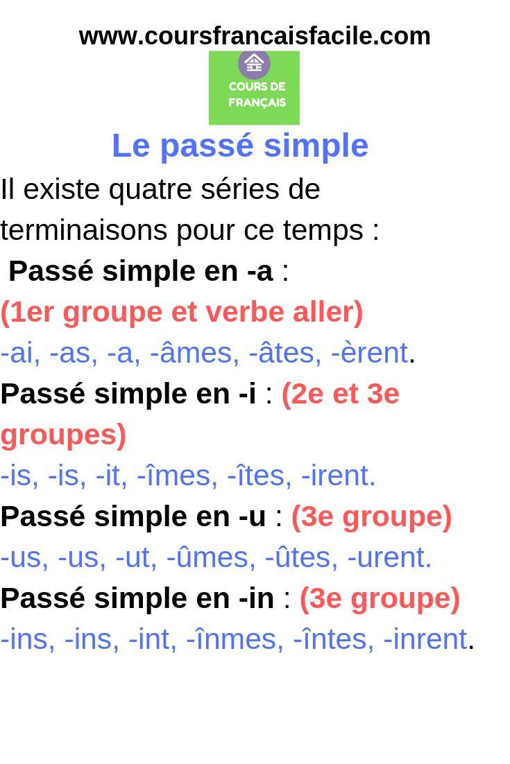 Liste des verbes au passé simple- leçon en français facile ...