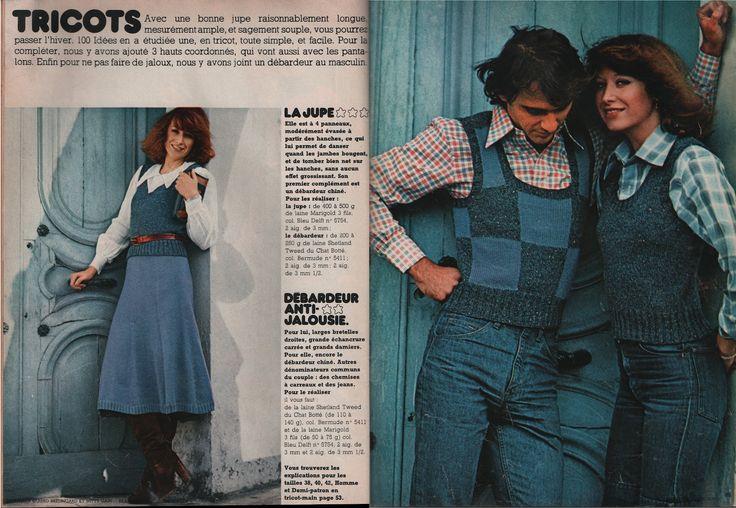 100 Idées n° 13 de novembre 1974.  Photos  : Daniel Burgi.  Niveau  : débrouillée pour la jupe et les deux ensembles, débutante pour le déba...