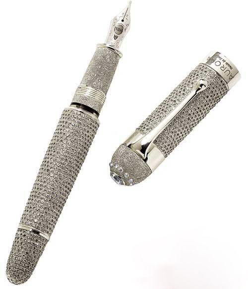 Price: $1,470,600   The Aurora Diamante is the most expensive writing instrument till date. Only one is for sale per year. The Aurora Diamante contains over 30 carats of De Beers diamonds on a solid platinum barrel. It has a two-tone, rhodium-treated, 18KT solid gold nib and is personalized with a coat of arms, signature or portrait. Aurora Pens says it is the only over 30 carat pen in the world.