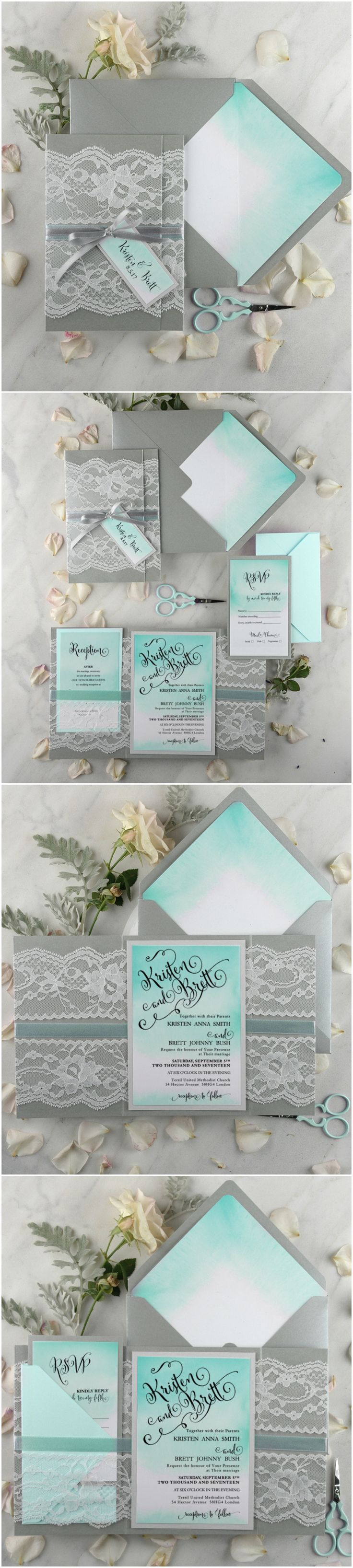 Tiffany blue Lace Ombre Wedding Invitations #ombre #blue #tiffanyblue #watercolor #weddingcolors #weddingideas #stationery #invitations
