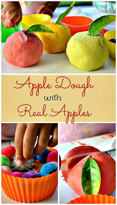 Day 1 of a 5 day FALL PLAY RECIPES SERIES featured on 4 blogs! Every day has a new theme and this post shares a recipe for Apple dough made with real apples - feels great, smells yummy and wonderfully tactile!