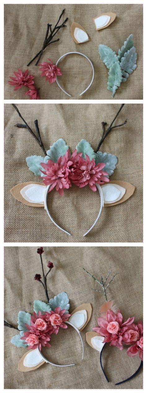 DIY Floral Hirschgeweih Stirnband – ideal für ein Halloween-Kostüm, Neugeborene