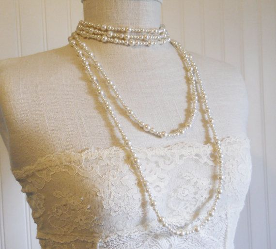 Pearl Wedding Necklace Long Pearl Necklace by PearlyJaneBridal, $38.00