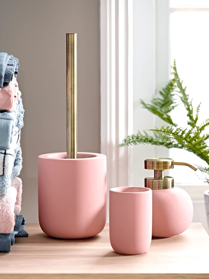 Crafted from ceramic with a beautiful, soft rubber finish and brass attachments, our collection of blush bathroom accessories makes the perfect pastel colour accent for a white or industrial style bathroom. Display as a matching set, or purchase individually and pair with our Glass Accessories- Blush for an eclectic, mixed texture look.