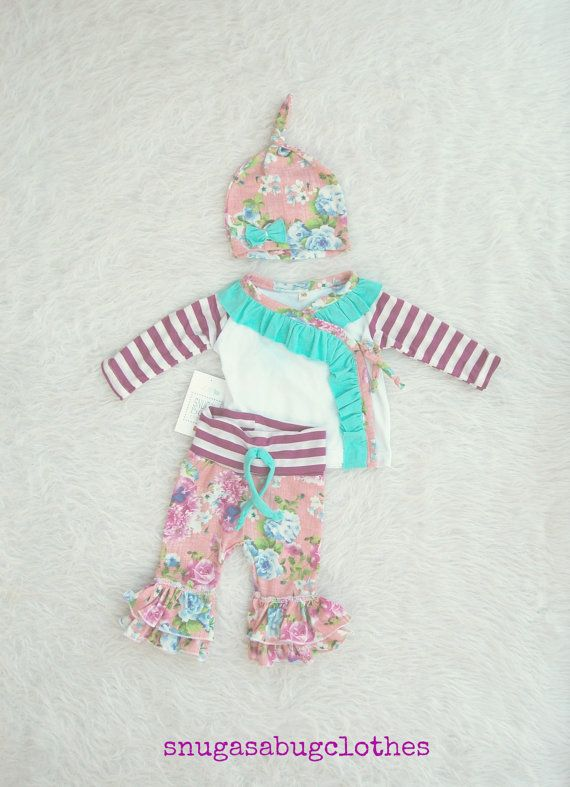 Spring Kimono Baby Girl Coming Home Outfit by SnugAsaBugClothes