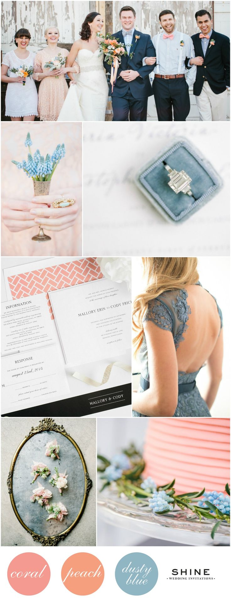 Soft and Romantic Coral, Peach, and Dusty Blue Wedding Inspiration | Shine Wedding Invitations