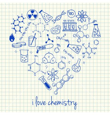 I love chemistry doodles in heart vector by kytalpa on VectorStock®