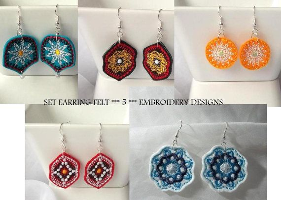 Earrings ornament felt - Machine embroidery digitization./ INSTANT DOWNLOAD