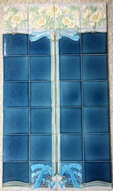 Meissner Ofen und Porzellan-Fabrik (M.O. & P. F) - Tile panel (28 tiles) - Art Nouveau