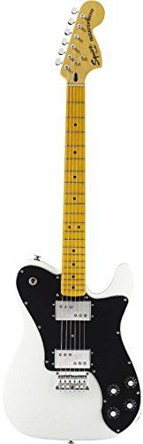 Squier by Fender Vintage Modified Telecaster Deluxe Electric Guitar, Maple Fingerboard, Olympic White   	  	    	  	$ 299.99 Electric Guitars Product Features Basswood Body Maple C Shape Neck with 21-Medium Jumbo Frets Wide Range Hum bucking Pickups Chrome string-through-body Telecaster bridge with six stamped saddles Vintage-Style Chrome Tuning Keys Electric Guitars Product Description For the first time ever, Squire introduces a Vintage Modified Telecaster Deluxe guitar armed w..