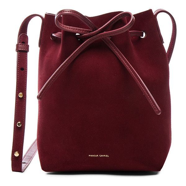 Mansur Gavriel Mini Bucket Bag found on Polyvore featuring bags, handbags, shoulder bags, red suede handbag, handbag purse, mini handbags, red shoulder handbags and shoulder handbags