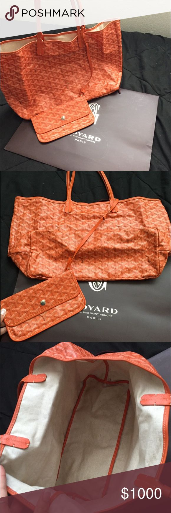 Orange Goyard bag with wallet Very good condition Authentic Goyard bag with wallet! PM size and bright orange. I am selling this for my cousin so I am not trading. Thank you Goyard Bags Shoulder Bags