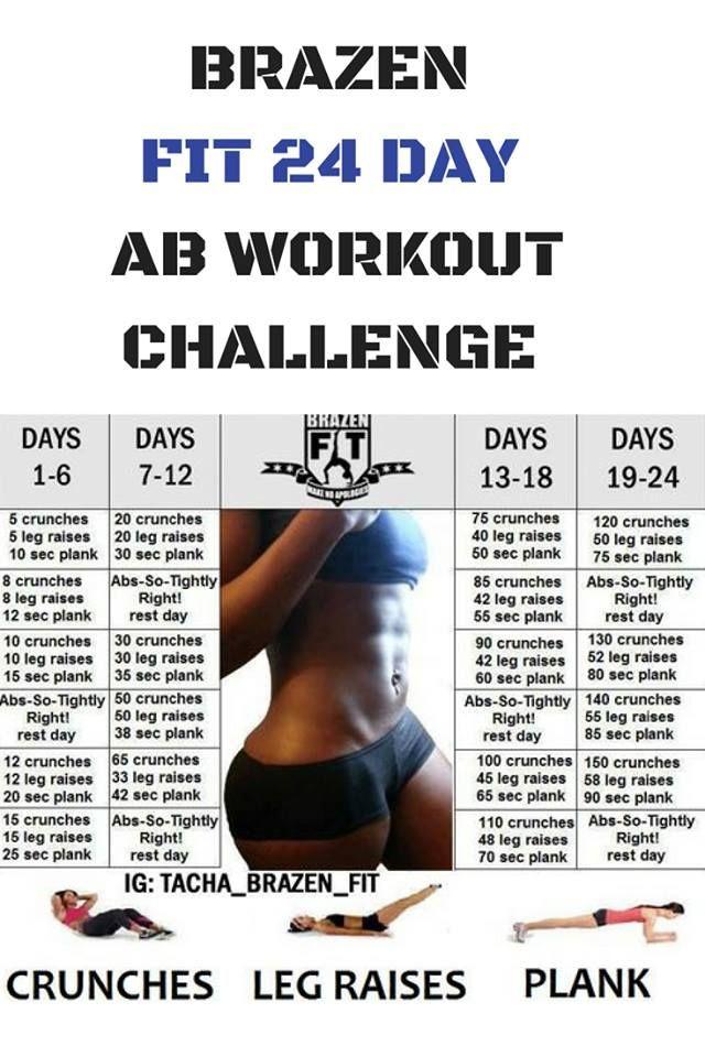 BRAZEN FIT 24 DAY AB WORKOUT CHALLENGE | Stuff to Try | Pinterest | Workout,  Fitness and Workout challenge