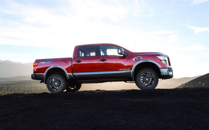 Download wallpapers Nissan TITAN Pro-4X, Crew Cab Specs, 2018, exterior, pickup truck, new red TITAN, SUV, Japanese cars, Nissan, USA