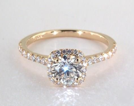 1ct Halo Round Engagement Ring Yellow Gold
