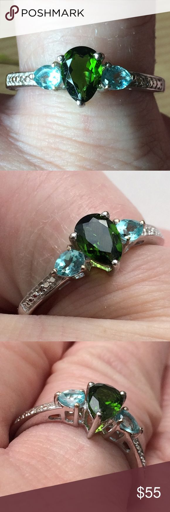"""NWT! 🔥Genuine Rare Chrome Diopside + Apatite .925 Brand new🍒 Tag on! Genuine Rare Russian Chrome Diopside (1 - 7x6mm fancy faceted pear) + Apatite (2 - 5x4mm fancy faceted pears).Awesome piece! High sought high quality gems. Made in the USA! -🎁🎁. Plus comes w/ FREE BRAND NEW """" Thank You"""" gift. 🎁🎁.     Seller ships quickly! Please check my other listings of deeply discounted valuable goodies . CHEERS! #sterling,#silver, #ring #apatite #rare #chrome #diopside manufacturer (usa) Jewelry…"""