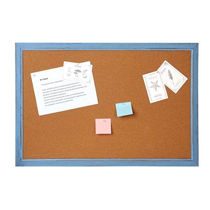 Amazon Com Cork Board Bulletin Board 4 Thought 48 X 36 Inches Cork Notice Pin Board Memo Board Vintage Style Blu Cork Board Trending Decor Boho Chic Decor