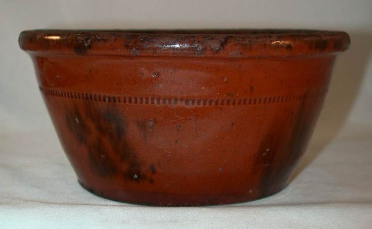 Beautiful Southeastern Pennsylvania Antique Redware Manganese Glazed Bowl