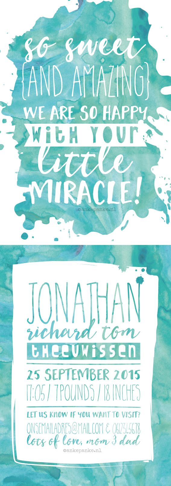 Blue watercolor birth announcement by http://ankepanke.nl