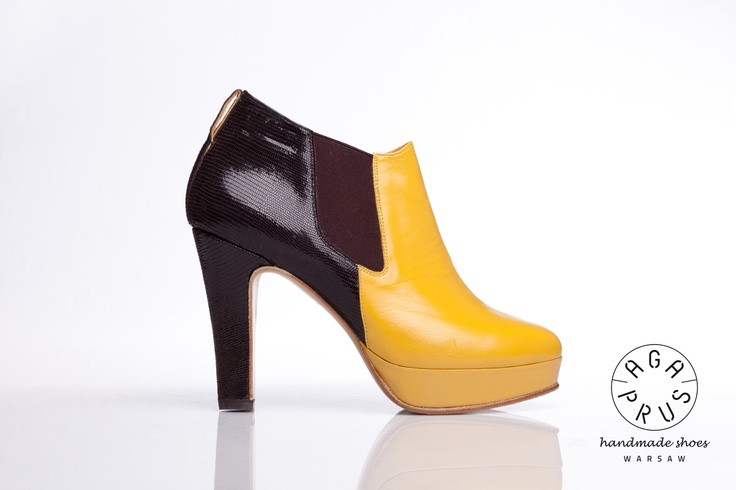 yellow and dark brown Chelsea Boots by Aga Prus