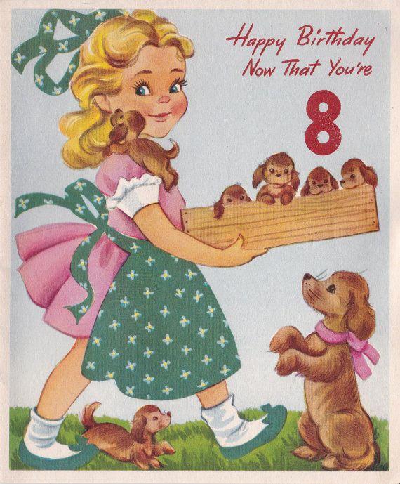 Vintage Happy Birthday Now That You're 8 by poshtottydesignz