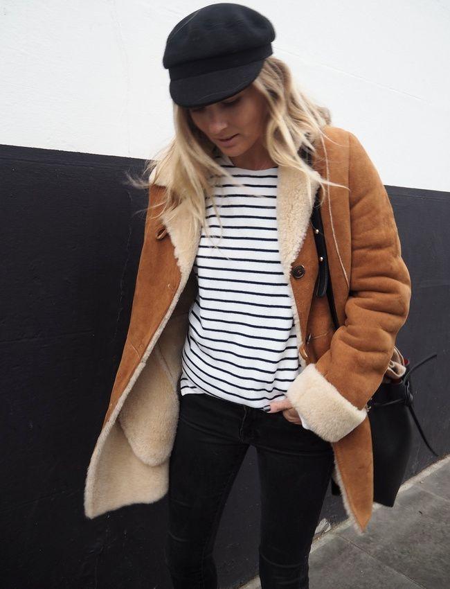 La veste en shearling sied particulièrement bien à la marinière ! (blog Fashion Me Now)