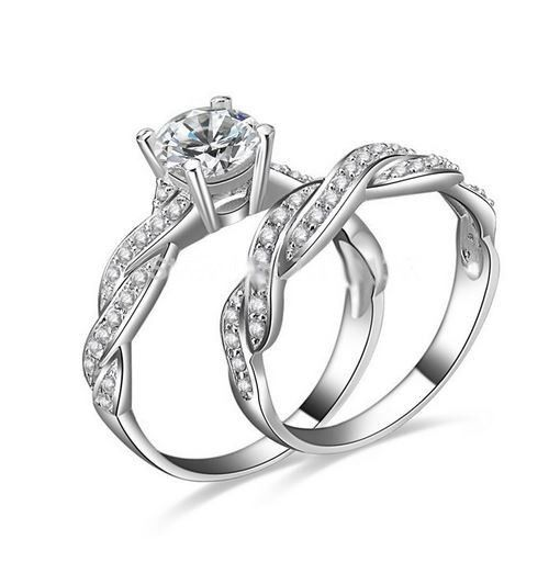 10KT White Gold Filled Round Cut Simulated Diamond Engagement-and Wedding Ring by Victoria Weick