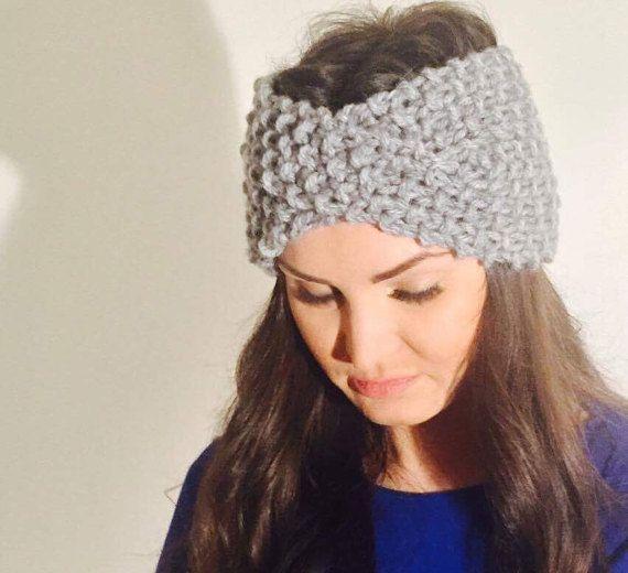 Twisted knit turban, wool headband, knit headband, wool earwarmer, handmade knit turban
