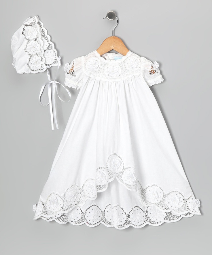 Ma Petite Amie White Baptism Dress  Bonnet - Infant: beautiful for our dedication