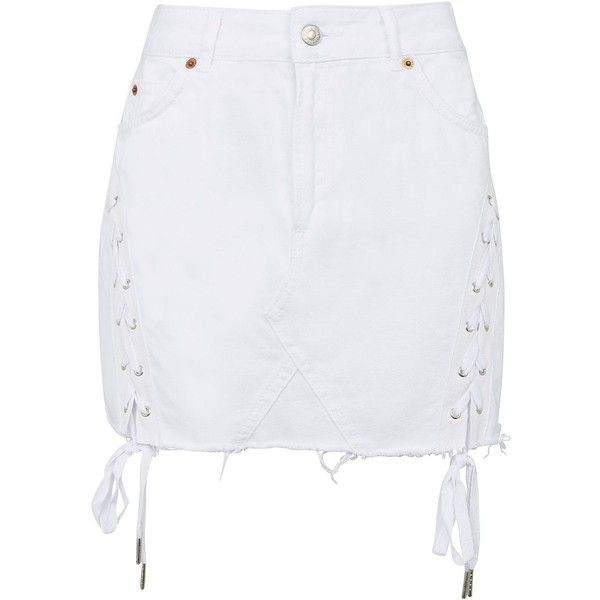 TopShop Moto Denim Lace Up Skirt (€58) ❤ liked on Polyvore featuring skirts, topshop, off white, lace up denim skirt, lace up skirt, denim skirt, topshop skirts and off white skirt