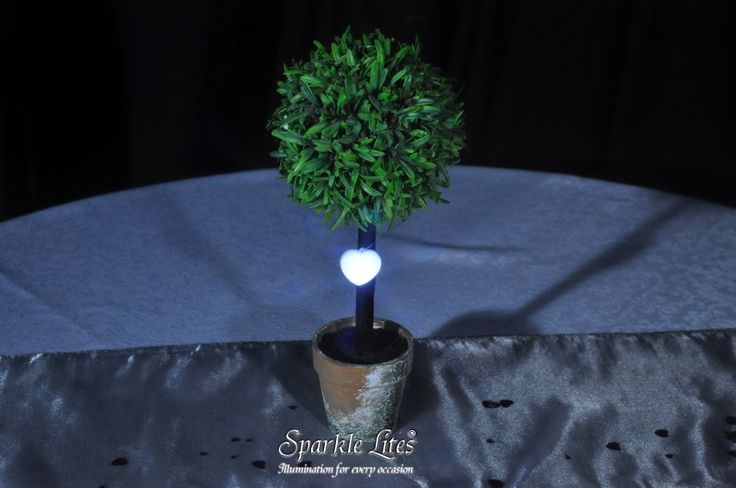 White Sparkle Heart, hanging on a small table top topiary tree.