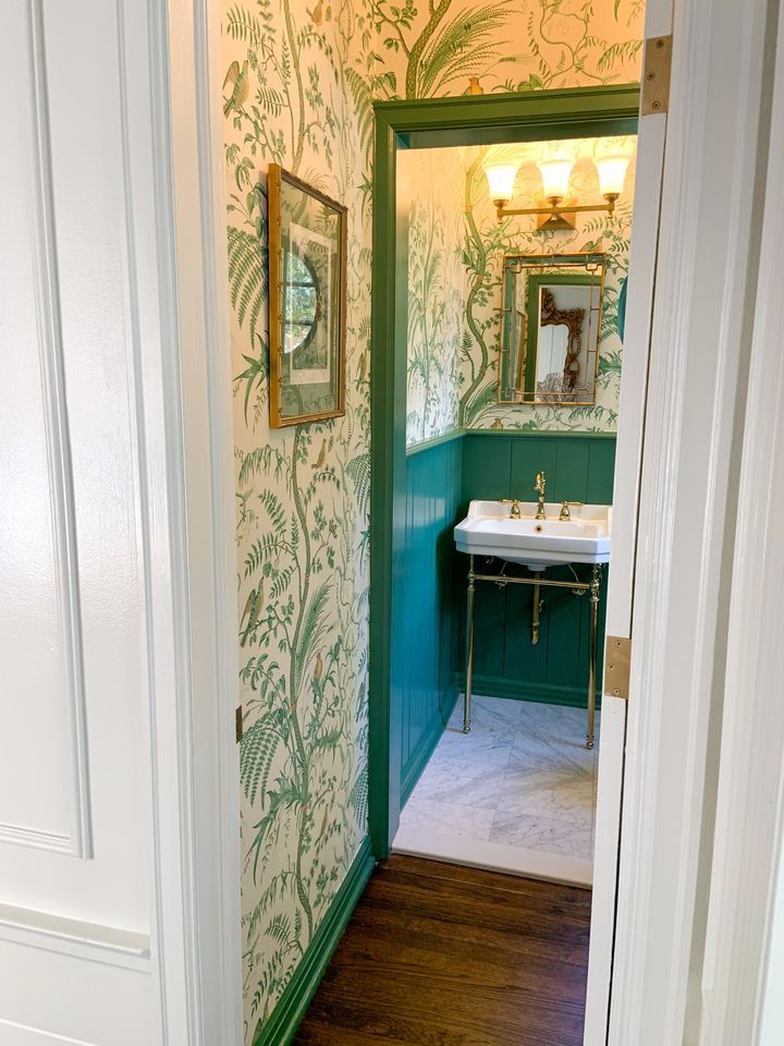Green Powder Room With Bird And Thistle Wallpaper Green Powder Room Bird Bathroom Thistle Wallpaper Bird and thistle wallpaper green