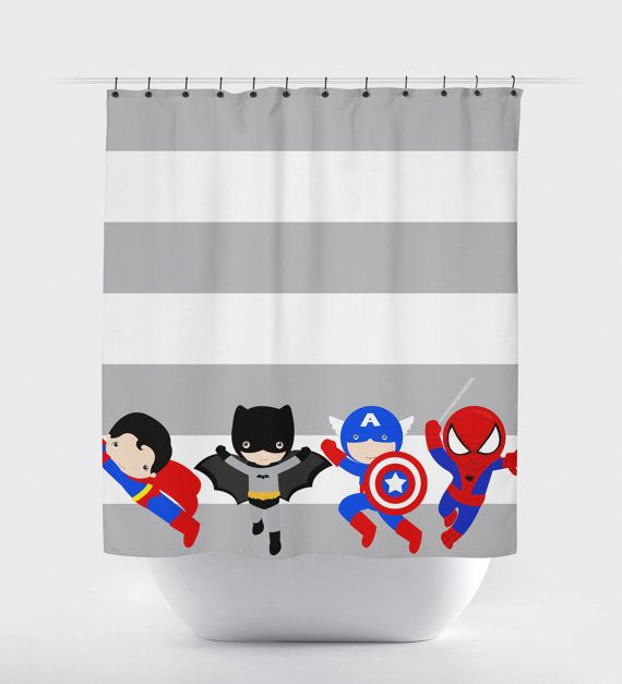 25 best ideas about superhero bathroom on pinterest for Superhero shower curtain