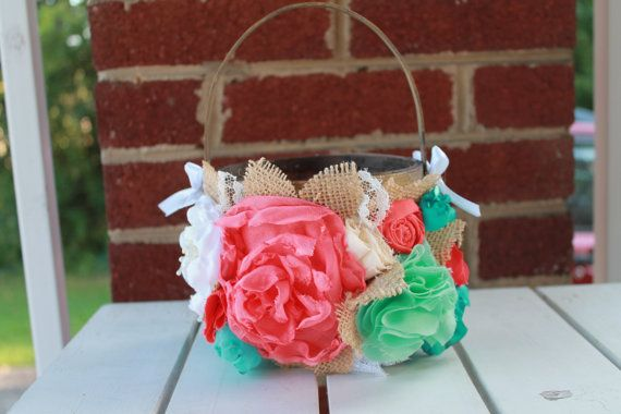 Hey, I found this really awesome Etsy listing at https://www.etsy.com/listing/161601457/rustic-country-flower-girl-basket-coral