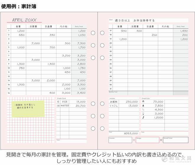 マークス Marks システム手帳 リフィル 家計簿 家事ノートセット A5