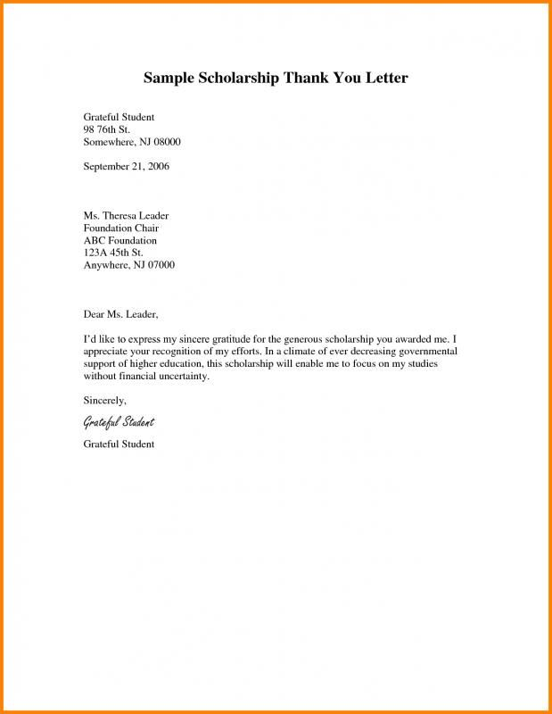 Scholarship Thank You Letters Sample template Scholarship thank