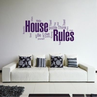 Adesivo Murale House Rules Word Cloud - Stickers Murali