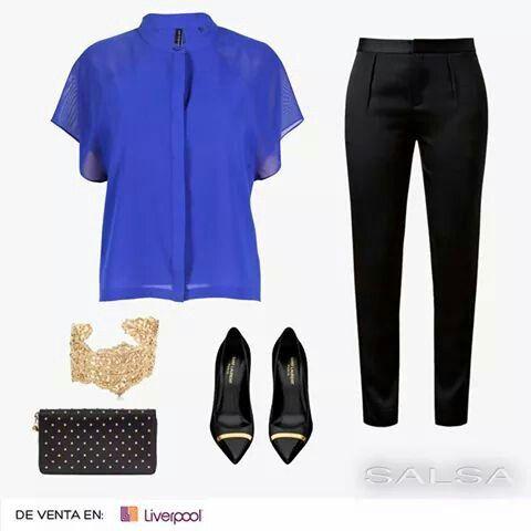 Blusa azul rey y negro