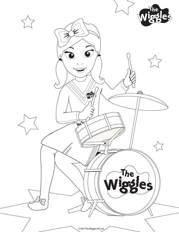 The wiggles activity color emma the drummer birthdays for The wiggles coloring pages