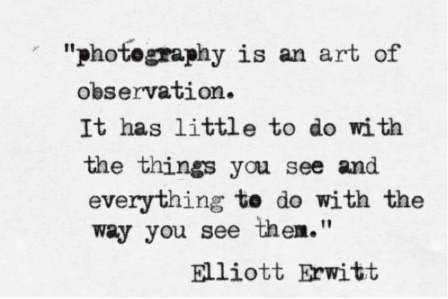 """Photography is an art of observation. It has little to do with the things you see and everything to do with the way you see them"""" // Elliot Erwitt"""