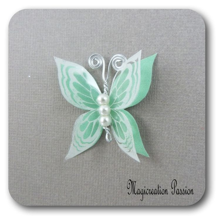 papillon 3.5 cm double ailes soie vert transparent blanc - Ysatis : Décoration d'intérieur par les-tiroirs-de-magicreation-passion