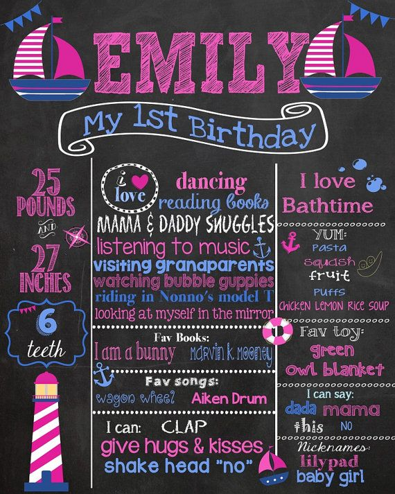 First Birthday Chalkboard  Nautical Birthday by PinknPurplePress