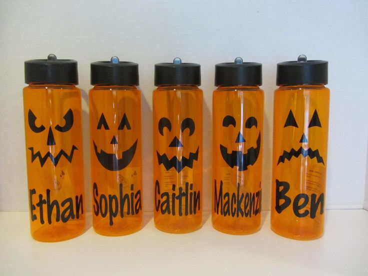 Personalized Halloween 24 ounce BPA free water bottle- jack-o-lantern pumpkin designs. One personalized orange Halloween water bottle with your choice of jack-o-lantern face and name. Bottle has a flip top and inner straw. 24 ounce and BPA free When ordering multiple bottles, the shipping will automatically be combined. Shipping for the first bottle will be $6. Shipping for each additional bottle will be $1.