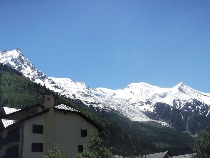 Mont Blanc 4810m from Chamonix city.